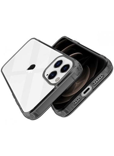 MobilCadde İphone 12 Pro Buff Air Hybrid Max 6.7 İnÇ Ultra Koruma Smoke Telefon Kılıf Siyah